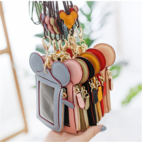 Happy Dream Card Slot Zip Cartoon Ear Wallets with Lanyard Neck Strap Card Holder Coin Purse Pocket Pouch Credit ID card Bags A52201