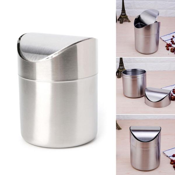 Stainless Steel Desk Mini Car Dust Trash Bin Countertop Waste Can With Swing Lid Kitchen Worktop Waste Rubbish Trash Can ZJ0272
