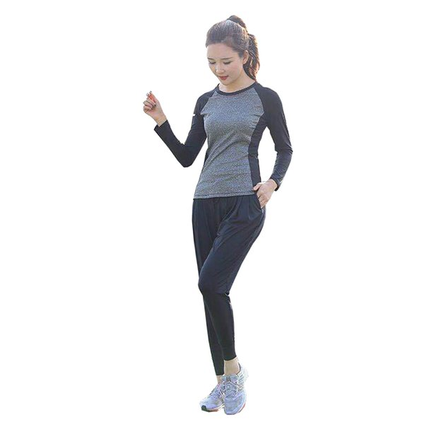 2019 Yoga Set Fitness Clothing Patchwork Women Gym Sets 2 Piece Workout Clothing Long Sleeve Tops Exercise Running Sportwear