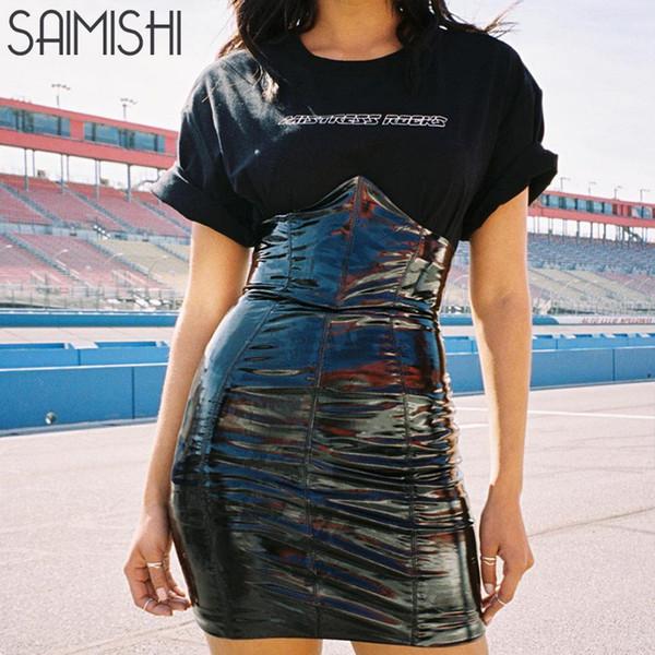 Saimishi Faux Leather Black Sexy Women Streetwear Skirts Fashion High Waist Package Hip Skirt Zipper Back PU Mini Pencil Skirts