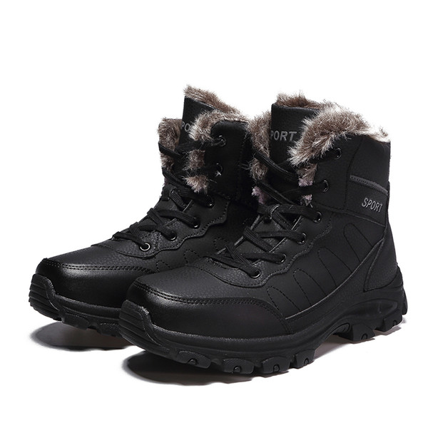 2019 new Fashion Winter Warm snow Boots Men boots Fully Fur Lined Ankle Bootie Waterproof Outdoor Hiking Walking Casual shoes Wholesale