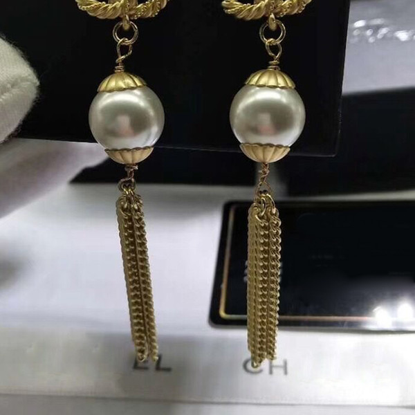 Women Long Tassel Luxury Earring Letter C Famous Earring with Stamp Fashion Jewelry for Gift Party High Quality