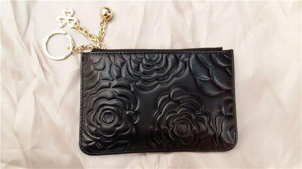 Vintage Classique Camélia impression zéro porte-monnaie vogue femmes mini portefeuille en cuir véritable style robe organisateur portefeuilles portefeuilles poche zippée 15cm