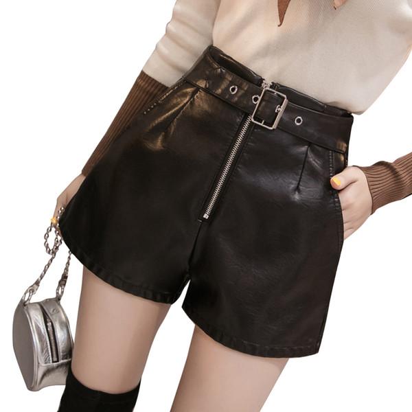 Kemer Siyah Deri Şort Artı boyutu PU Yüksek Bel Moda Yeni Bahar Yaz Zarif Fermuar Şort Gevşek Kadınlar Kısa Pantolon Pocket