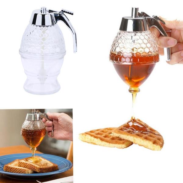 200 ML Honigspender Glas Container Tasse Saft Sirup Wasserkocher Küche Biene Tropfständer Halter Tragbare Küche Acryl Aufbewahrungstopf