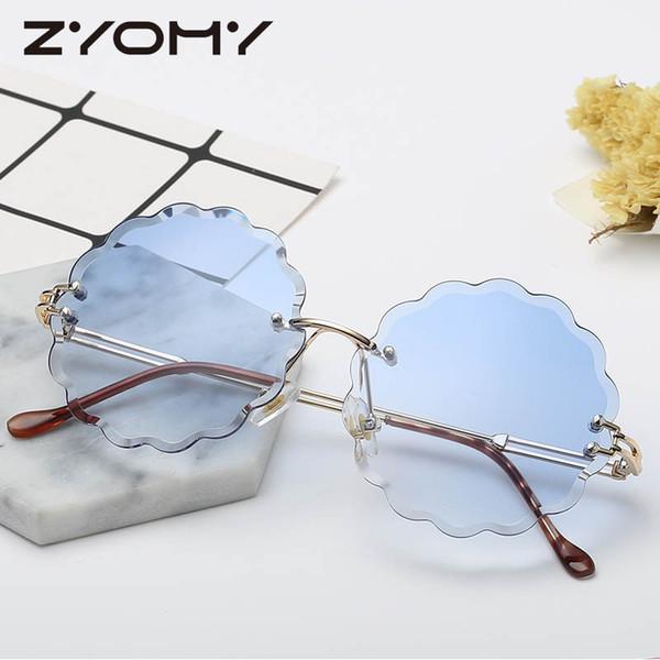 Gradient Color Lenses Gafas Retro Glasses Flower Shape Brand Designer Rimless Women Sunglasses Oculos de sol Lunette Eyewear