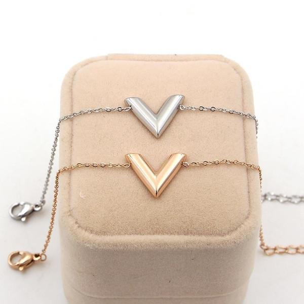 316L titane acier V lettre bracelet modèles féminins Mode Titane acier plaqué 14k rose couleur or bijoux en or fille cadeau bijoux
