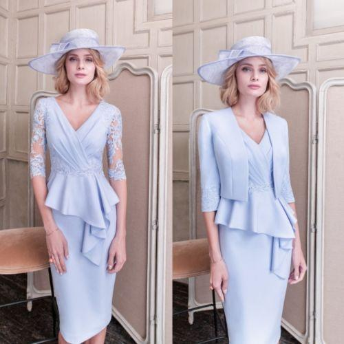 elegant mother of bride dresses with jacket sexy v neck top lace pleats satin knee length short sleeves blue groom mother skirts outfits