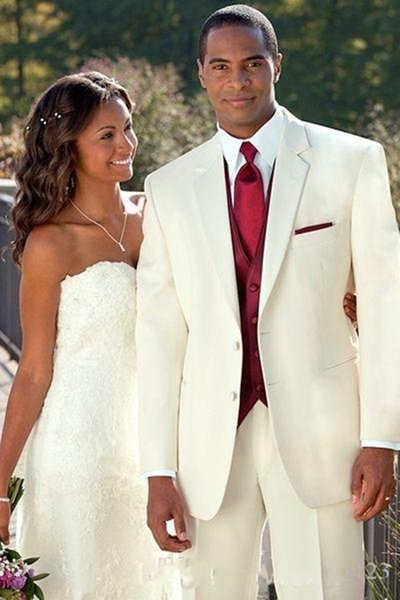 New Design Ivory Groom Tuxedos Groomsmen Best Man Suits Mens Wedding Blazer Suits (Jacket+Pants+Vest+Tie) 1125
