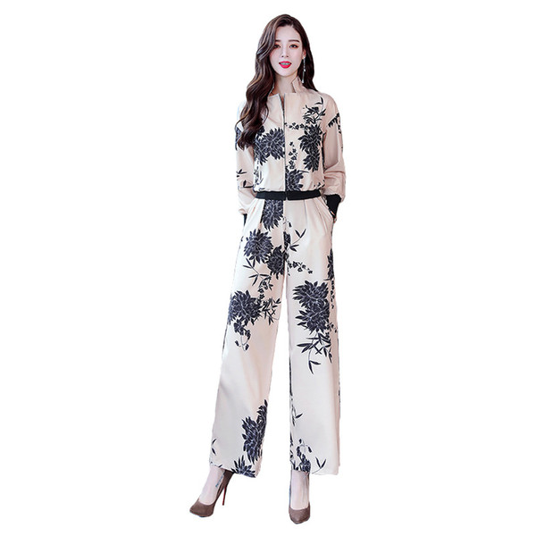 Women's suit spring and autumn new fashion temperament quality printing ladies suit two-piece (jacket + pants)