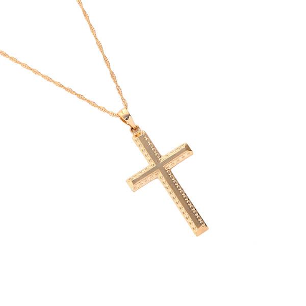 Mode Einfachen Kreuz Halskette Jesus Stück Anhänger Gold Farbe Messing Männer Kette Ethiopian Schmuck Weihnachtsgeschenke