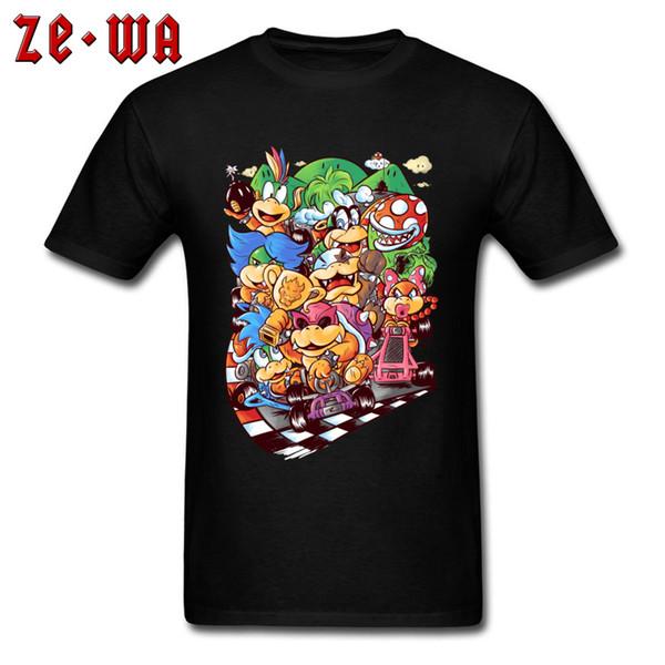Tees Men T-shirt Cartoon Party T Shirt Super Mario Tops 80s Game Cotton Black Clothes Good Guys Finish Last Funny Racer Tshirt