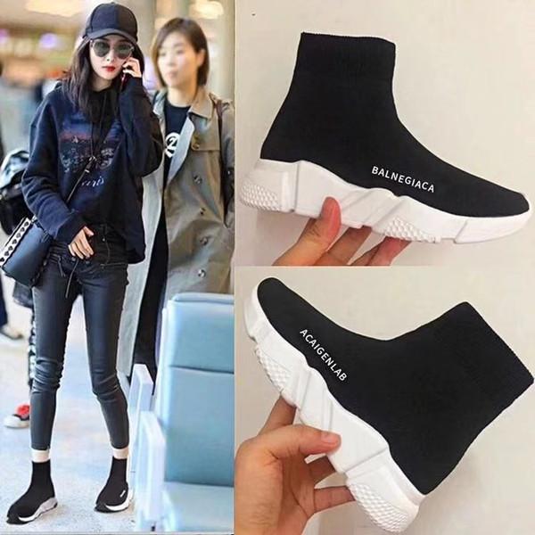 best selling 2019 designer Speed Trainer fashion Luxury men women Sock Shoes black white blue oreo Flat mens sport Runner sneakers size 36-45