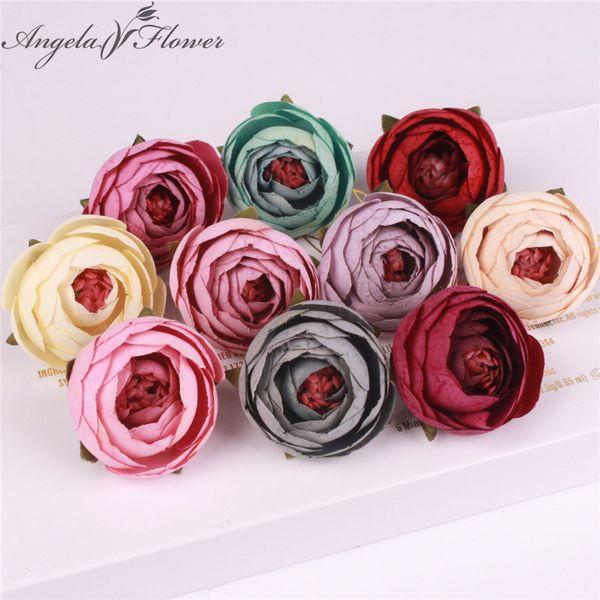50pcs/lot Silk Small Tea Rose Buds Artificial Flower Heads Diy Wedding Decor Home Garden Office Table Flower Wall Accessories Y19061103