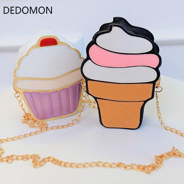 New Cute Cartoon Women Ice Cream Cupcake Mini Bags PU Leather Small Chain Clutch Crossbody Girl Shoulder Messenger Bag