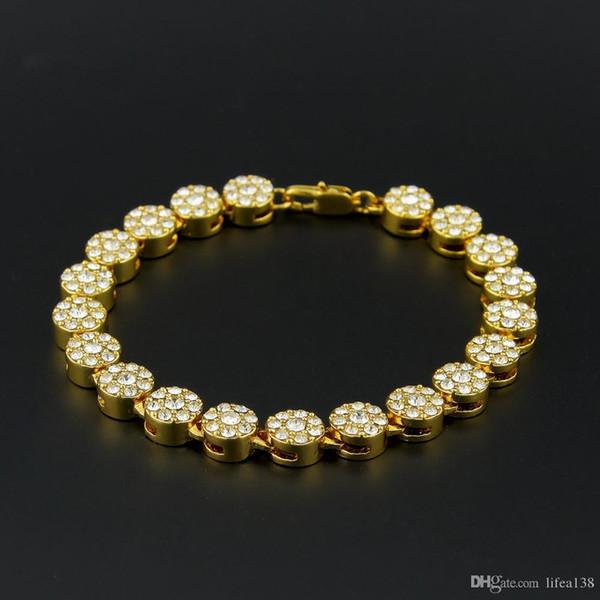 Braccialetti di Hip Hop di colore dell'argento di colore dell'argento del nero dell'oro Uomini lunghi di lusso del braccialetto dei monili degli uomini dei monili di modo della catena a maglia