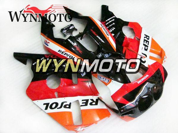 Пластиковые ABS Чехлы велосипед обтекатели Для Honda CBR400RR NC23 Год 1987 1988 1989 Полный комплект обтекателя Repsol Красный Оранжевый и черный Понижает кузовного