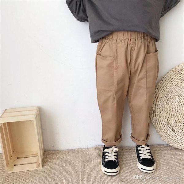 INS новые осень дети мальчики брюки Брюки фриволите хлопок повседневная мода большие карманы пустой хаки старинные эластичный пояс детские брюки