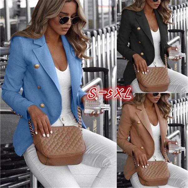 Plus Size Women Blazer Solid Color zweireihige Frauen Tops Laple Hals Weiblich Kleidung New Arrival