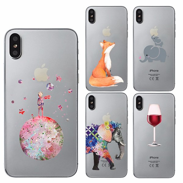 For IPhone 8 Plus XS MAX Cases Cartoon Cute Animals Flower Painted Phone Case Soft Thin TPU Mobile Phone Cover for Apple iPhone 6 7plus 5s