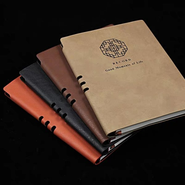 2019 Hot Retro business stationery notebook A5 leather fresh creative Natural diary book Office simple classical customizable logo book 101