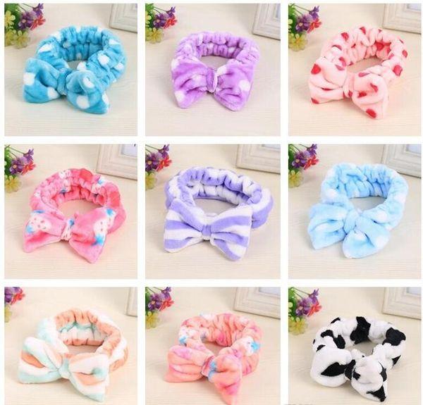 Brand new Flanela cocar beleza bow knot esportes lavar headband faixa de cabelo faixa de cabelo mix ordem 30 peças