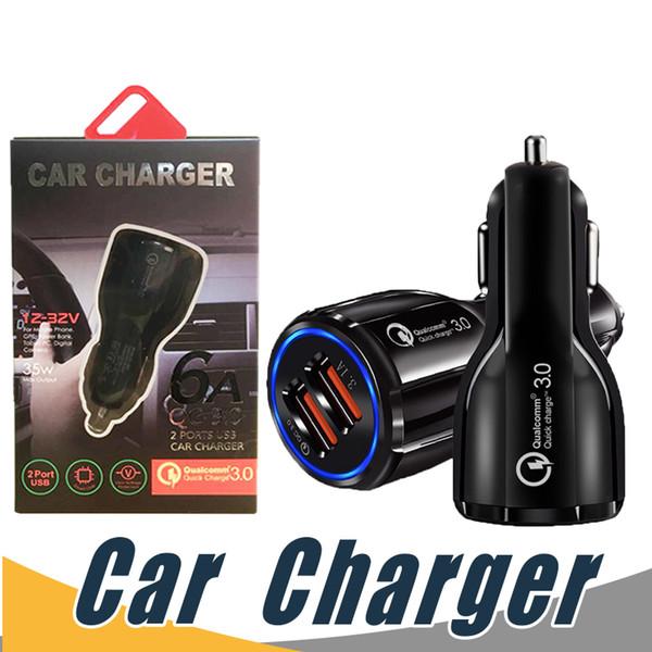 QC 3.0 Chargeur Rapide De Voiture 3.1A Chargeur Rapide De Téléphone De Voiture LED Double USB Chargeur Rapide Chargeur DC 12-24V Pour Smartphones