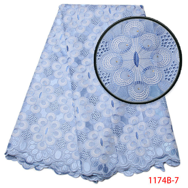 High Quality Swiss Voile Lace 2018 African Lace Fabric African Swiss Cotton Voile Lace Fabric With Stones For Clothes XY1174B-7