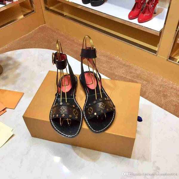 2019 kadın Sandalet ayakkabı düz stil düz ayakkabı son tarzı elbise ayakkabı kutusu ücretsiz kargo ile gel
