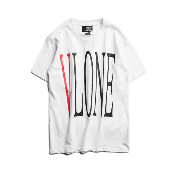 Streetwear Fashion VLONE Couple White T-shirt Men Newest Type Big V Printed Short Sleeve T Shirts Hip Hop Skateboards Friends Tee Shirt