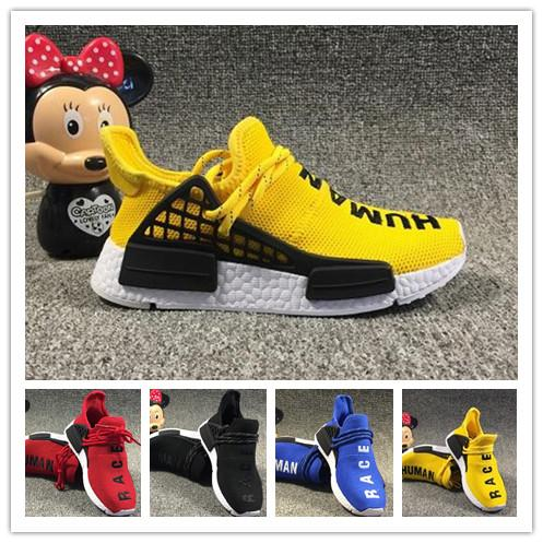 (with boxes)Infant Pharrell Williams Human Race Children kids sports shoes outdoor girls and boys running shoes Black Yellow Red HU Toddler