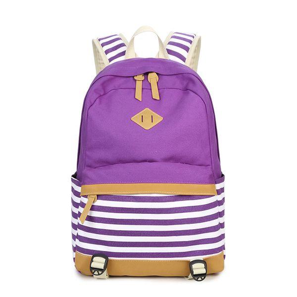 Canvas Stripe Split Joint Women's Backpack Computer Package Middle School Student Shoulders Bag