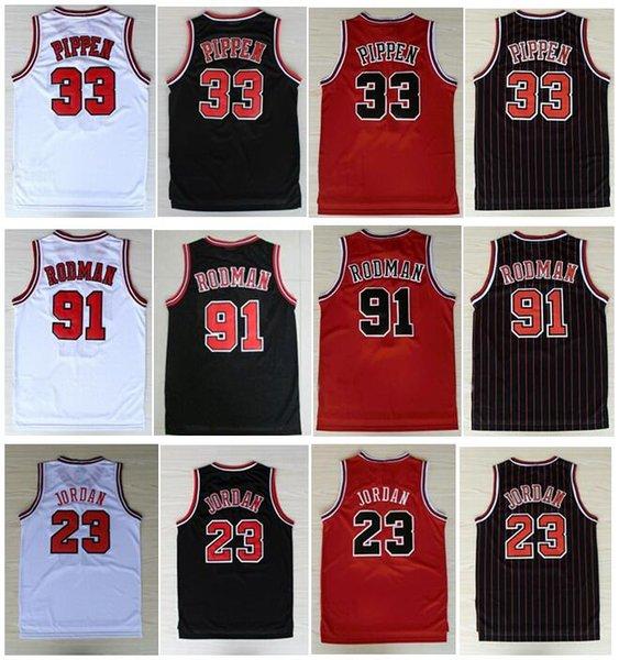 best selling BestQuality Embroidery 33# Scottie Pippen Jersey Red White Black Stripe 91# Dennis Rodman Jersey #23 Michael J Shirts Jerseys Stitched S-XXL
