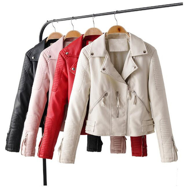 2019 New Fashion Women Autumn Soft Faux Leather Jackets Lady Motorcyle Zippers PU leather Biker jackets woman Outerwear short
