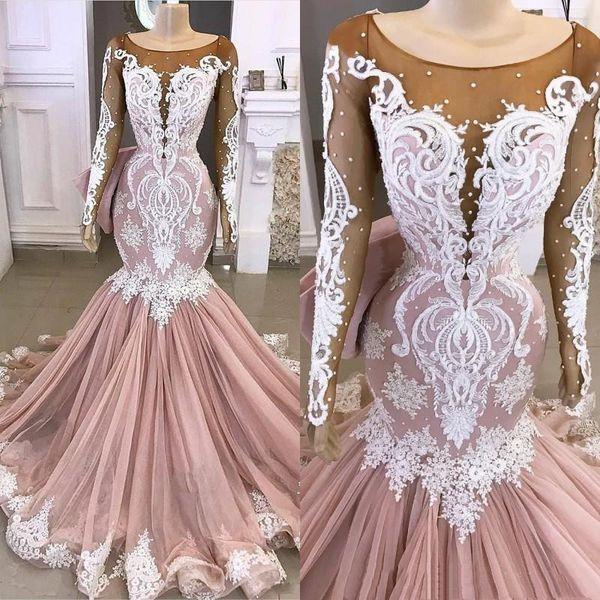 Abendkleider Nixe mit langen Ärmeln mit Perlen und Spitze Applique Sweep Zug Illusion Mieder Abendkleid Formal Wear vestido