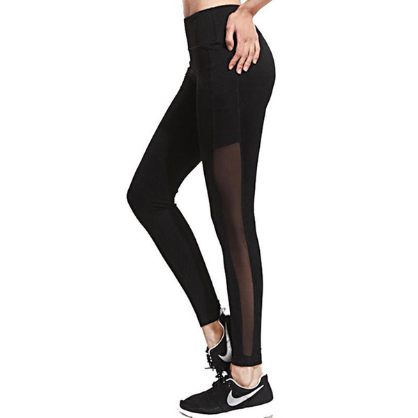 2017 Gothic Insert Mesh Design Women Patchwork elastic leggings Sexy Slim Fit Hollow Trousers Workout Mujeres Push up Leggings