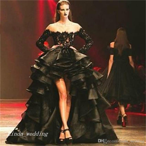 Black High Low Prom Dress With Long Sleeve Sexy Lace Organza Women Pageant Wear Special Occasion Dress Evening Party Gown