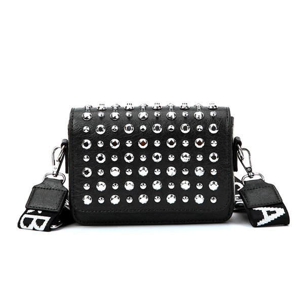 Fashion Trendy Rivet Designer Luxury Handbags Purses PU Leather Cross Body Bags Magnetic Buckle Women Shoulder Bags with Adjustable Strap