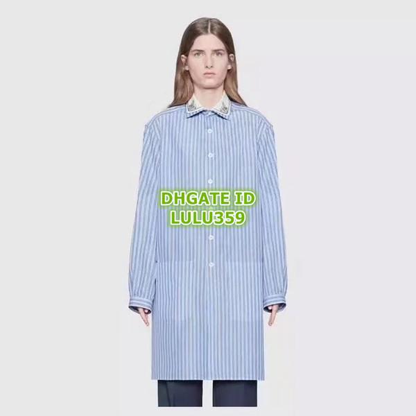 2019 Women Striped Shirt Dresses Brand Blue And White Striped Long Sleeve Shirt Beaded Sequins Shirt Mini Above Knee Dress