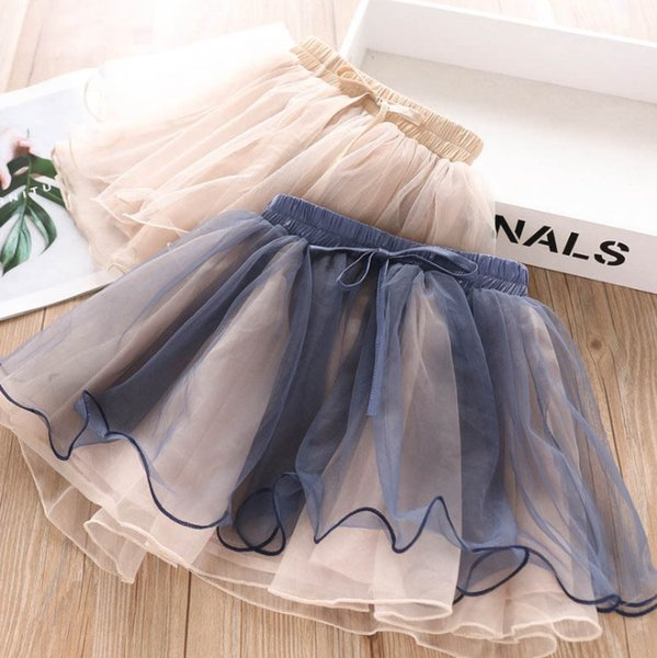 Girls lace tulle princess skirt kids patchwork color lace tulle tutu skirt chilren lace-up Bows elastic party skirt autumn girl clothesF8687