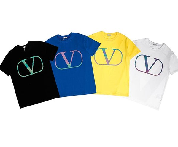 2019 ss vntl camisetas coloridas grandes con estampado en V hombres mujeres camisetas camisetas ocasionales estilo de la marea del desgaste negro blanco tamaño S-XXL