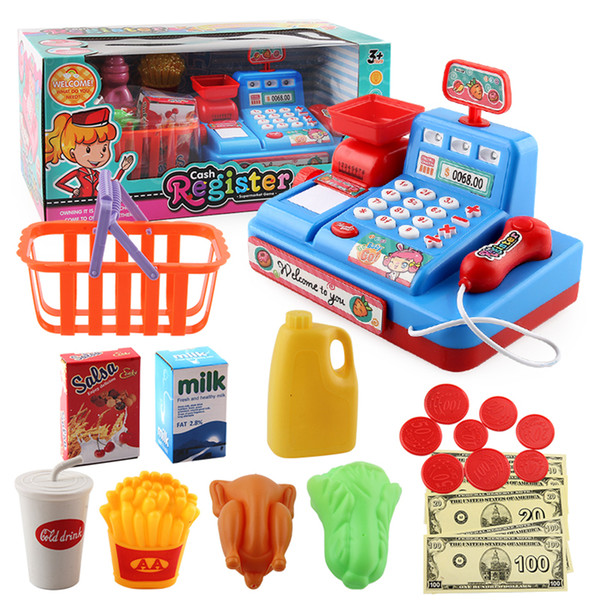 best selling Role Play Kids Pretend Play Cash Register Shopping Toys With Light Music