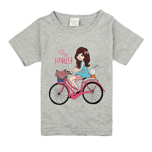 P32 Girls Short Sleeve T Shirts For Children 2019 Bike T-shirt Cotton 1-18 Year Kids Teenager Baby Girls Tops Tees Clothes