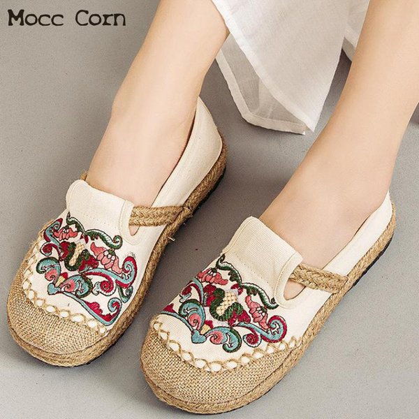 Summer Cloth Shoes Women Flat Shoes Canvas Embroidered Flats Comfortable Slip On Loafers Lady Linen Casual Breathable Footwear