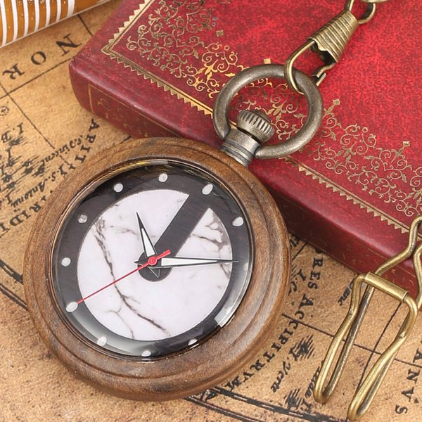wooden pocket watchwatch quartz timepiece rough chain hanging pocket watch antique necklace pendant clock gifts for men women
