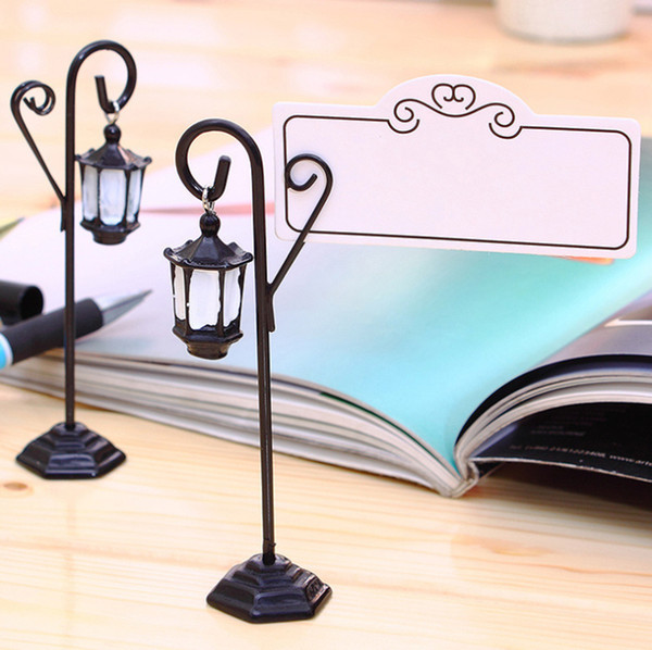 Street Light Shape Place Card Holders Name Card Clips Vintage Mini Chalkboard Table Number for Wedding Party Decoration