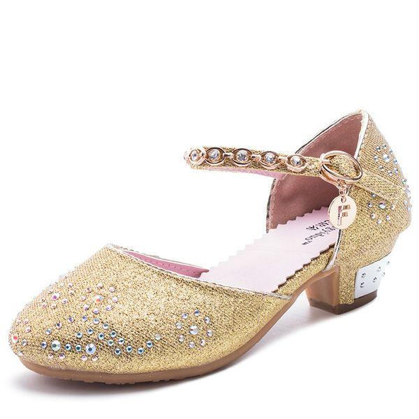 Spring Summer Autumn Festival Girls Sandals Children High Heels Women Shoes For Girls Crystal Sandals 3 - 12 years o