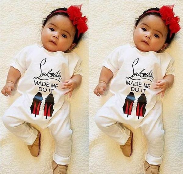 Bebek Bahar Sonbahar Uzun Kollu Tulum Çocuklar Pamuk Tulum Yenidoğan Bebek Mektup Geniş Yaka Tek Parça Pamuk Tulum Bebek Giysileri perakende