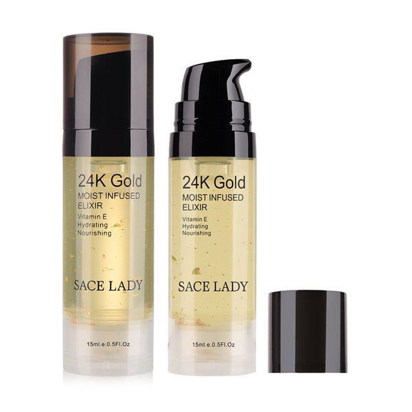SACE LADY Viso 24K Gold Elixir Ultra idratante Viso Olio essenziale di trucco Fondotinta Base Primer Base acqua anti-invecchiamento Essenza Beauty Base