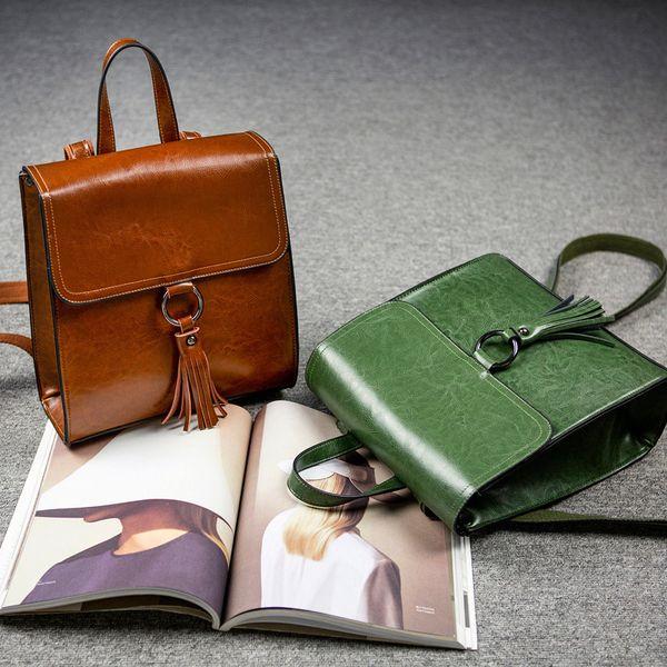 1Modern Echtes Leder Frauen Beide Schultern Paket Concise Joker Rindsleder Qualität Rucksack Guangzhou Frau Paket